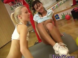 Two blondes one cock Cindy and Amber pummeling each other in the gym