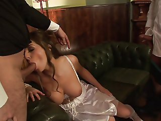 Brunette has cum dripping rrom her mouth after banging