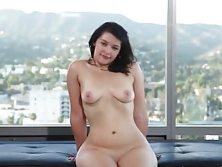 Curvy young sweetheart does audition