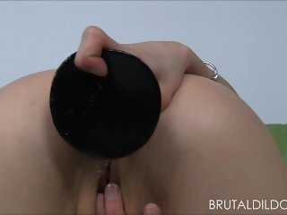 Hot blonde babe fucking her asshole with some massive brutal dildos in HD