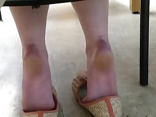 Lady Friend's Candid Shoeplay in Art Class