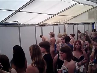 A crowd of women in public shower