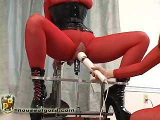 Blonde slave bound and squat fucked