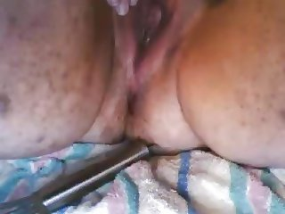 Ugly woman leaking pussy anal masturbation and orgasm