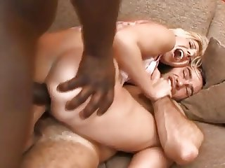 Blonde takes twococks in the ass