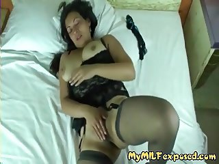 My MILF Exposed Latina mom in stockings teasing me