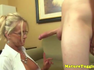 Mature tugging action with classy glam milf