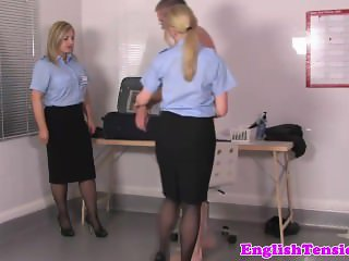 Sissyfied sub humiliated by uniformed femdoms