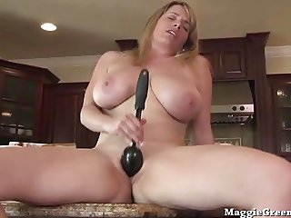 Nude Busty Chef Maggie Green Cums in Kitchen!