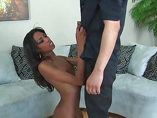 Brunette fucked in white thigh high stockings