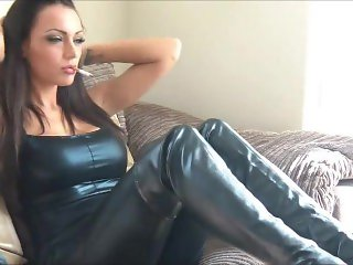 Jenna Hoskins in leather pants, top and thigh highs smoking