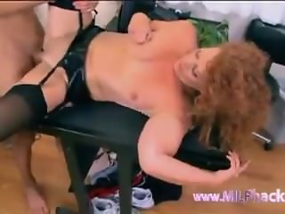 Juicy MILF gets pounded by her young lover while husband is at work