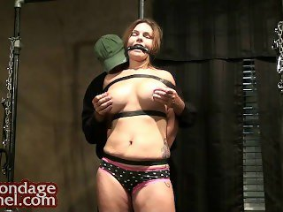 Breast tease and orgasm bar tied