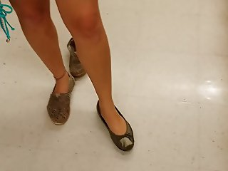 Candid Request Try On My Wife's Silver Ballet Flats Barefoot