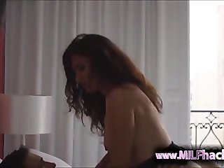 Mature Mom in Lingerie Seduces a Young Boy