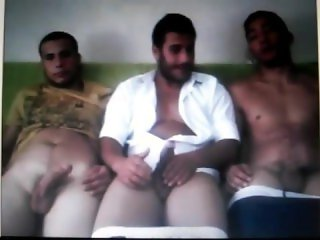 Three guys wanking on cam (old video)