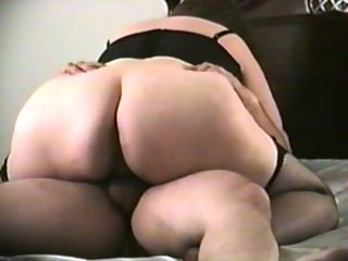 BBW riding cock in bustier and stockings