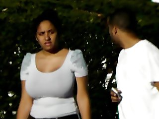 candids - busty girl huge tits tight gray top