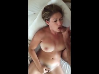 Sucking hubbies dick while fingering my pussy
