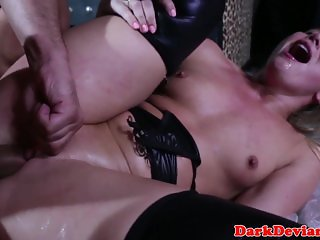 Subdued wrapped squirter gets roughly fucked