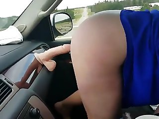 Fucking Dildo in Car