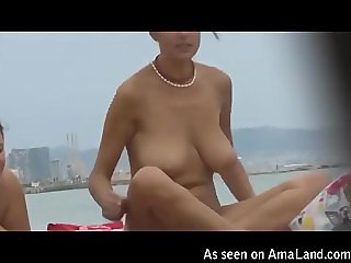 Sexy nude girl spied upon on Barcelona beach