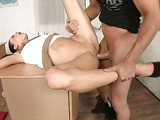 Horny brunette teacher gets the janitor to lick her pussy