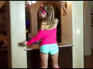 Skinny Girl Dancing and Stripping