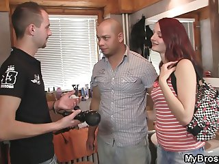 Bros gf rides another dick as her bf leaves