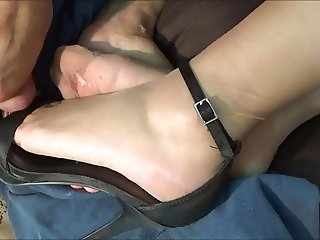 Tan RHT Feet Adorned with Cum and Mint Green Nail Polish