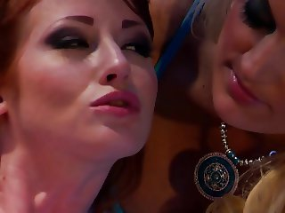 Sexy brunette loves it when blonde and redhead lick her