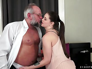 Angelina Brill fucks an older gentleman