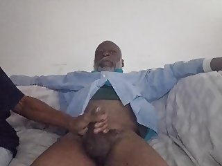 Black Grandapa dick sucked by girlfriend & mom ghetto pussy