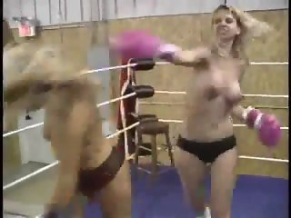 Sophie vs Brandi topless boxing