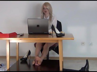 Cock and Ball Torture in pantyhose under the table