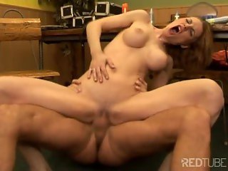 pretty babe takes cock in her asshole