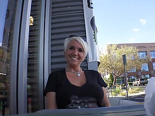 Short haired Blonde MILF Swallows