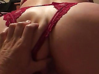 Amateur wife in lingerie riding