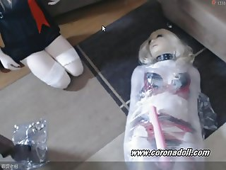 live latex Female mask mummy