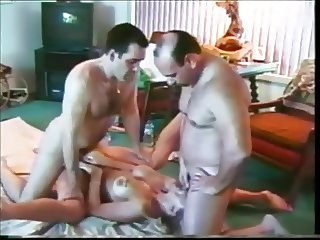 Blonde with unshaved pussy fucks and sucks a bunch of guys