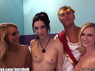 ImmoralLive ORGY with STRAPONS and HUGE TOYS ends with a cum swap!