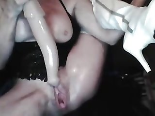 Oily fisting and horse dildo.