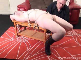 Sexy damsel in distress Amber West in bondage and submissive blonde tied to