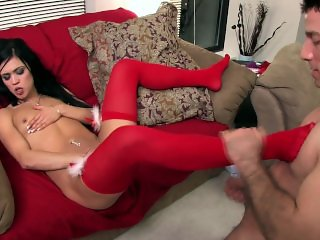 Petite cutie Mandy getting fucked while wearing red thigh high stockings