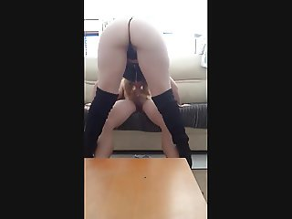 Big Ass Blonde Milf sucking double penetration Cock & Dildo