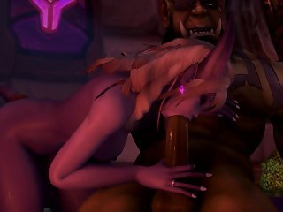 Sexy Warcraft Draenei Sucks and Fuck a huge orc Dick