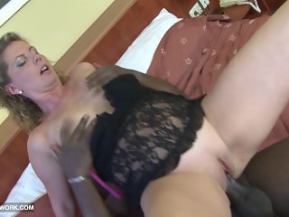 Euro chubby cougar first time fucking black man on cam