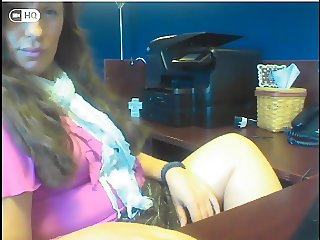 dirty SLUT rubs her cunt at the office