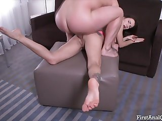 Anal toys help Camilla Moon with first time anal.