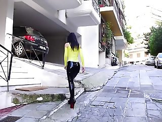 Latex Pencil Skirt Walking in extreme heels